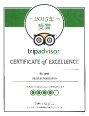 2015年受賞 tripadvisor CRETIFICATE of EXCELLENCE